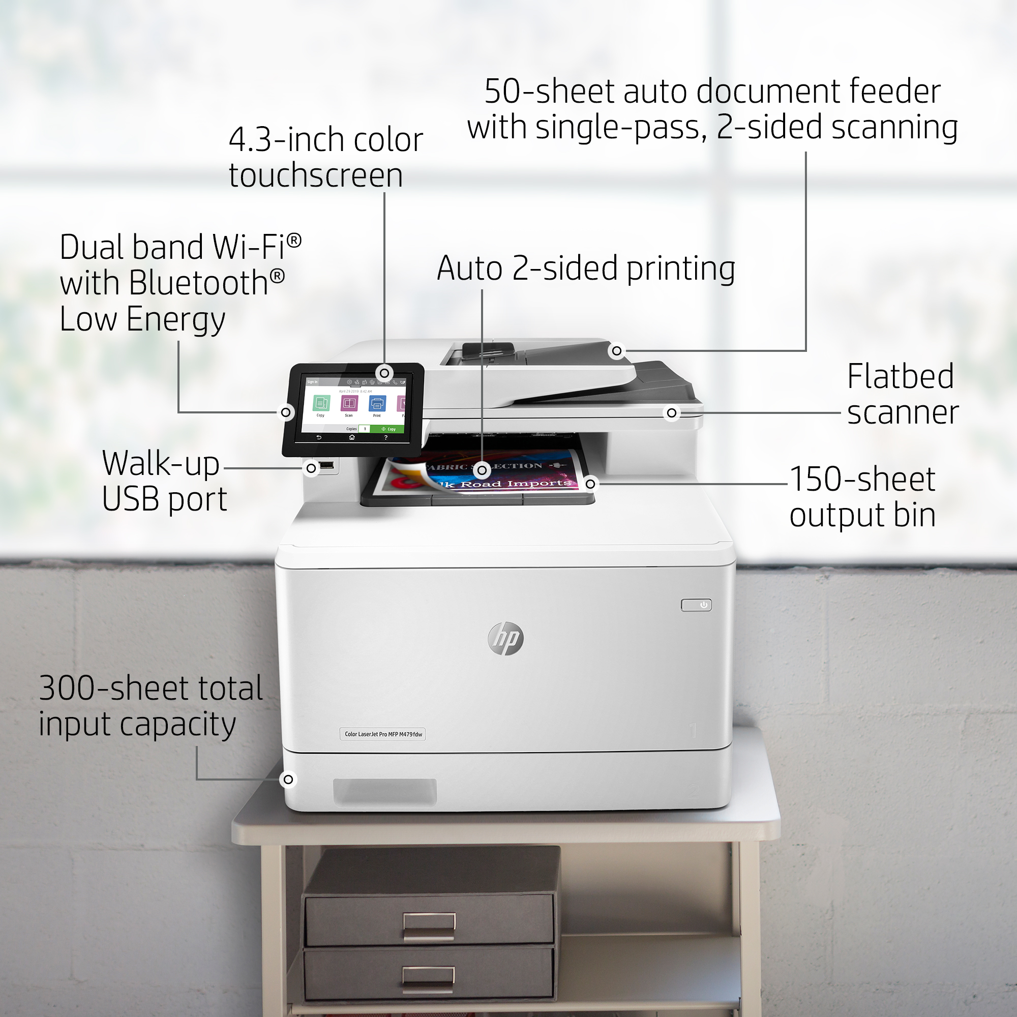 HP LaserJet Pro M479fdw Wireless Color Laser Multifunction Printer with  Duplexing (W1A80A)
