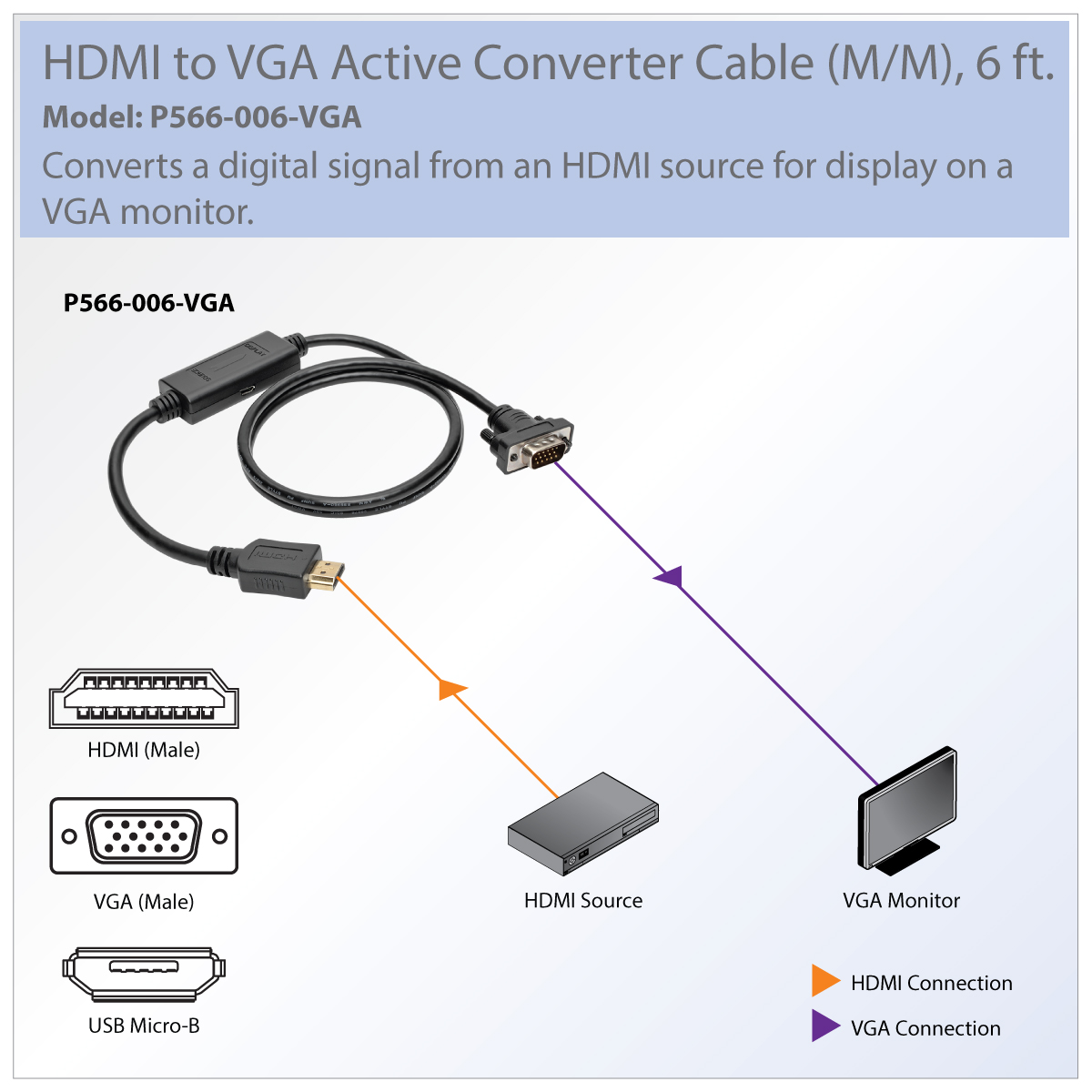 Tripp Lite Hdmi To Vga Active Adapter Cable Low Profile Hd15 M Usb Wiring Diagram Color Show Content On Your Existing Display