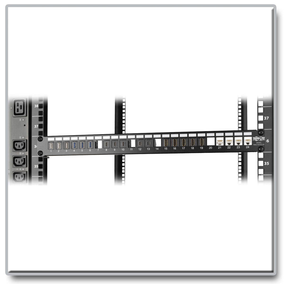 Tripp Lite 24 Port 1u Rack Mount Shielded Blank Keystone Multimedia Wall Ethernet Jack Wiring Diagram Also Neat Patch Cable Simplifies Management And Works With A Wide Variety Of Cabling