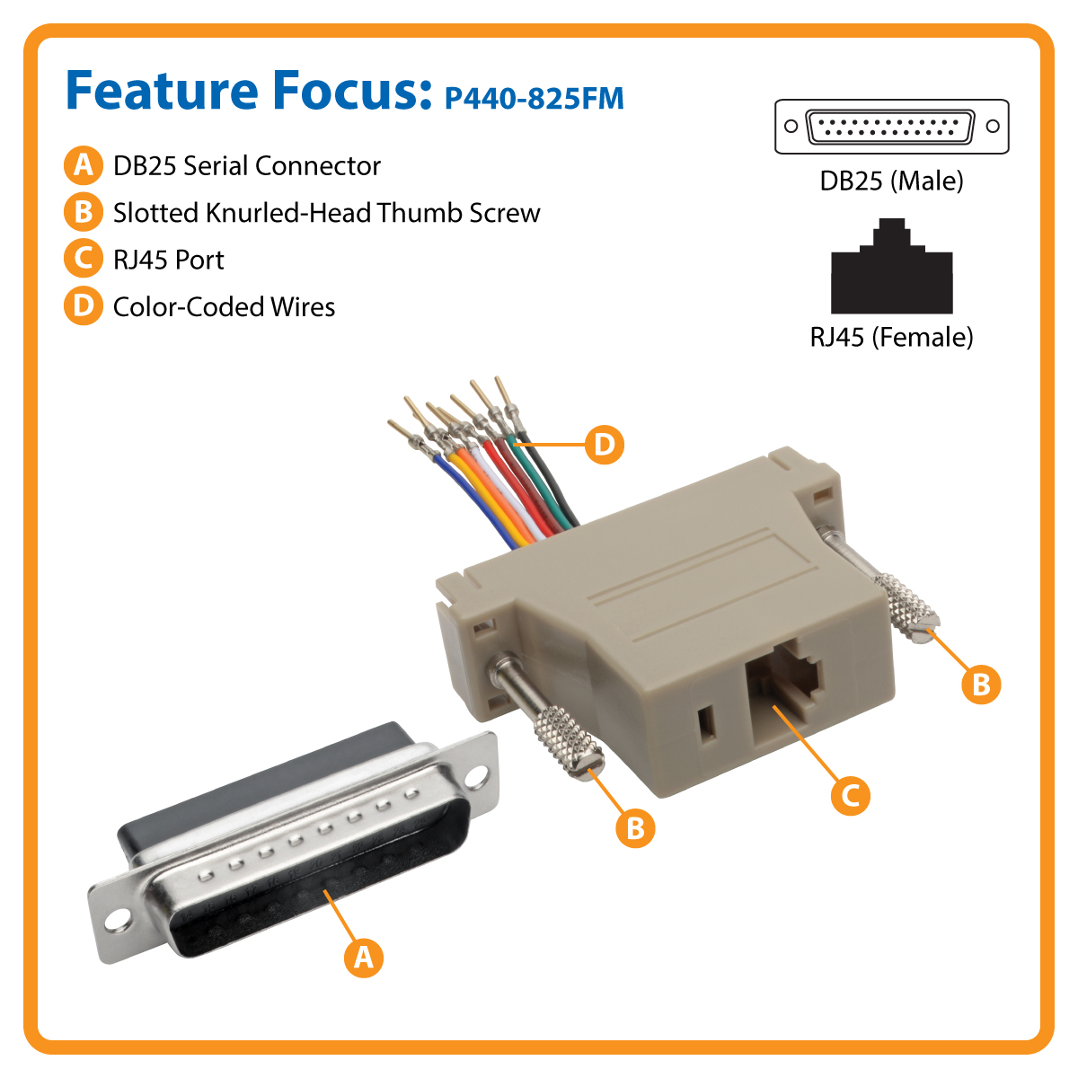 Tripp Lite Db25 To Rj45 Modular Serial Adapter M F Rs 232 422 Connector Wiring Connect A Device Your Network Over Cat5e 6 Cable