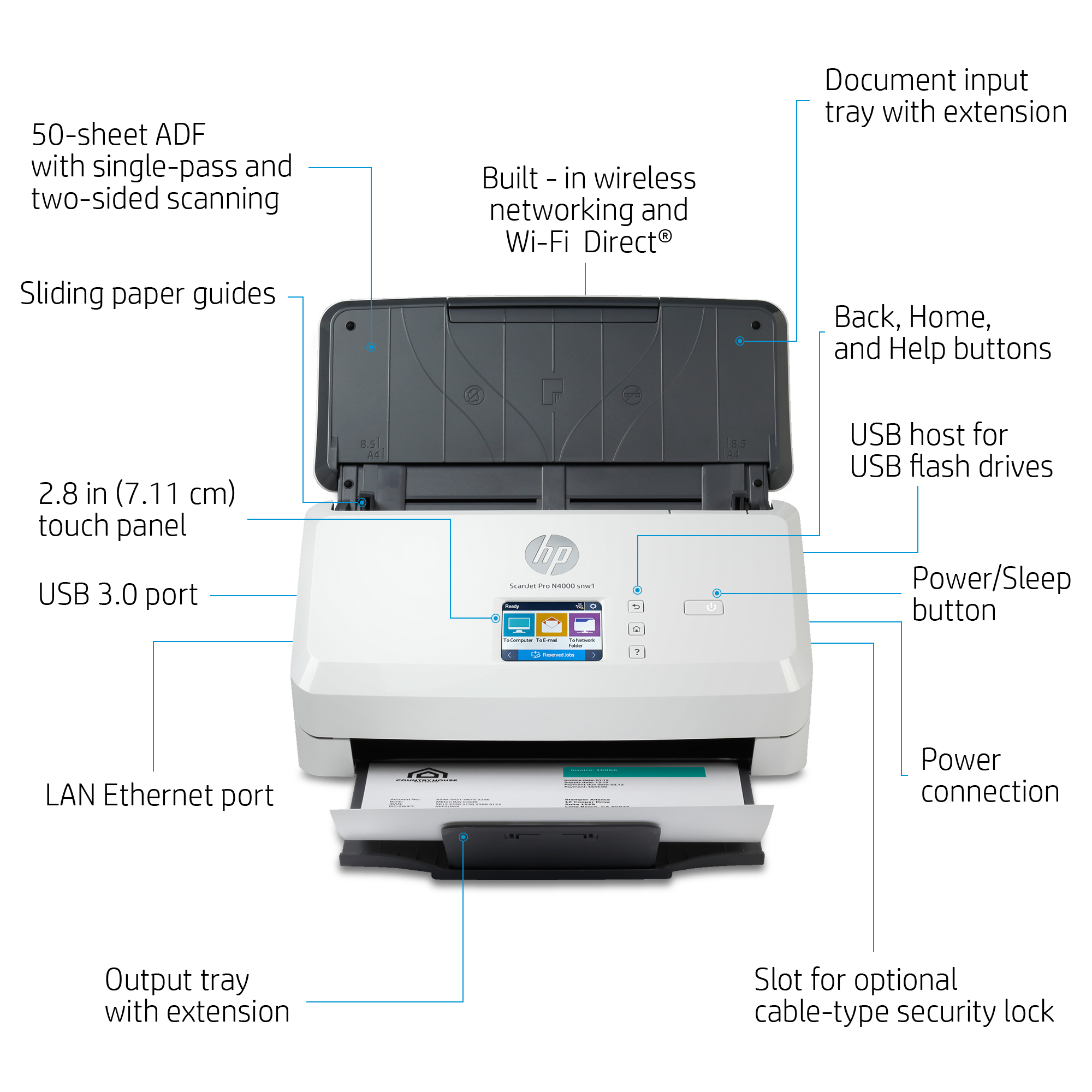 Product | HP Scanjet Pro N4000 snw1 Sheet-feed - document scanner ...