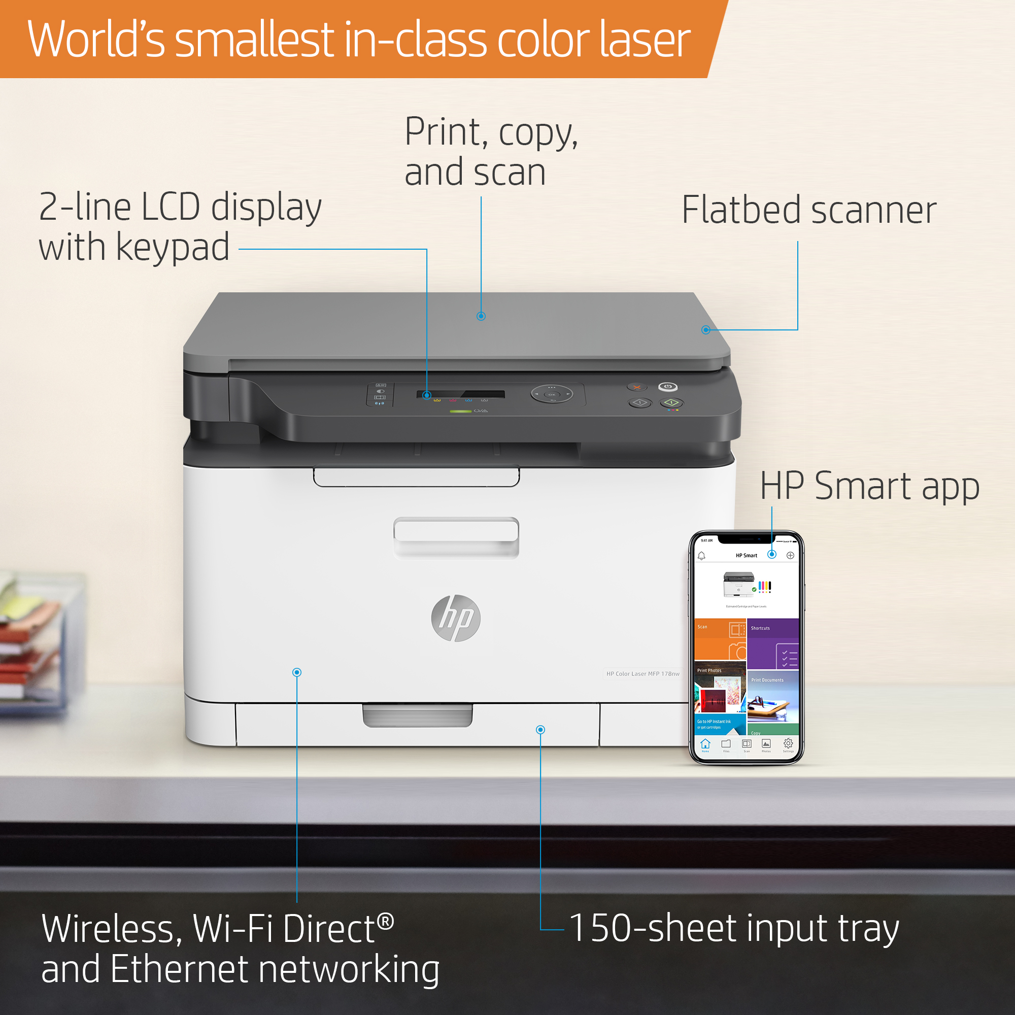 HP Color Laser MFP 178nw Wireless Printer, 18ppm Black/4ppm Color, 600x600  dpi (Color), 150 Sheets Tray - Print, Copy, Scan