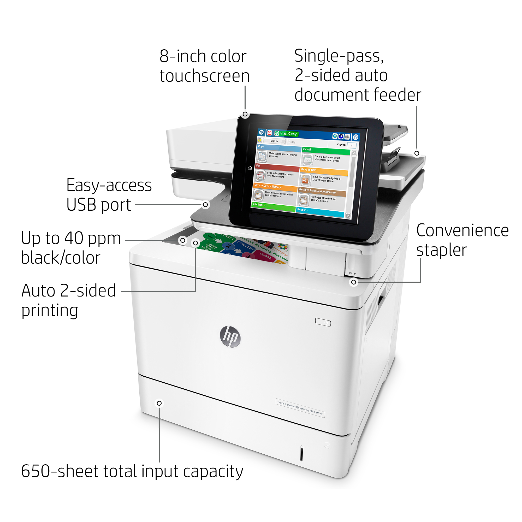 Product | HP LaserJet Enterprise MFP M577f - multifunction printer ...