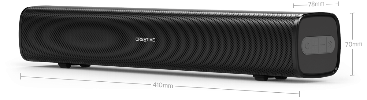 Compact Under-monitor Soundbar for Computer, with Bluetooth, AUX-in, and USB MP3