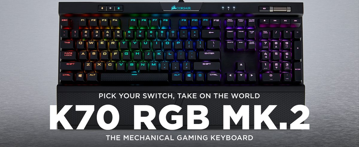 Corsair K70 RGB MK 2 Mechanical Gaming Keyboard, Cherry MX Red (CH