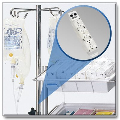 6-Outlet Medical-Grade Power Strip with Long 15 ft. Cord Approved for Patient Care Vicinities