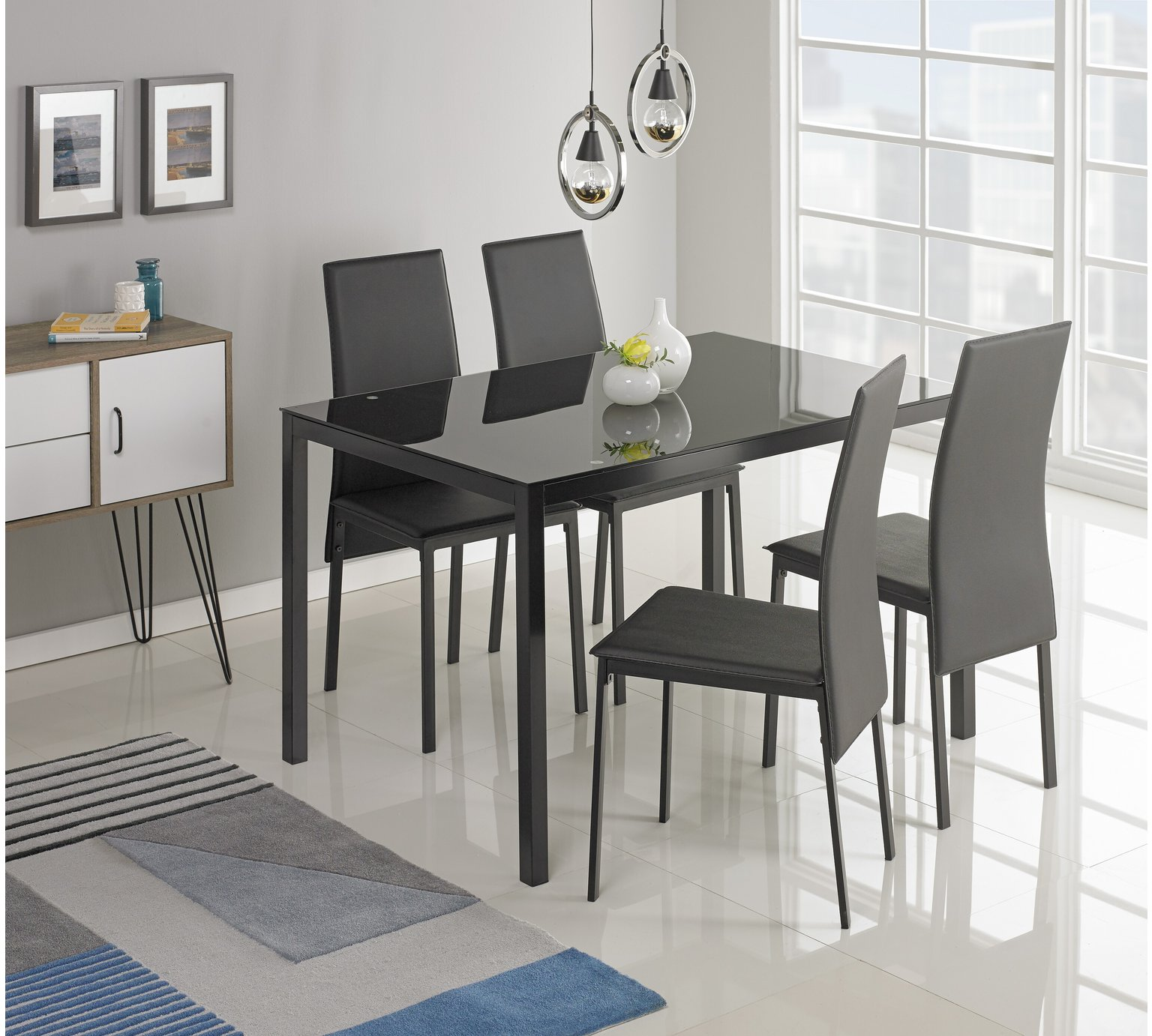 Buy Argos Home Lido Glass Dining Table 4 Chairs Black Dining