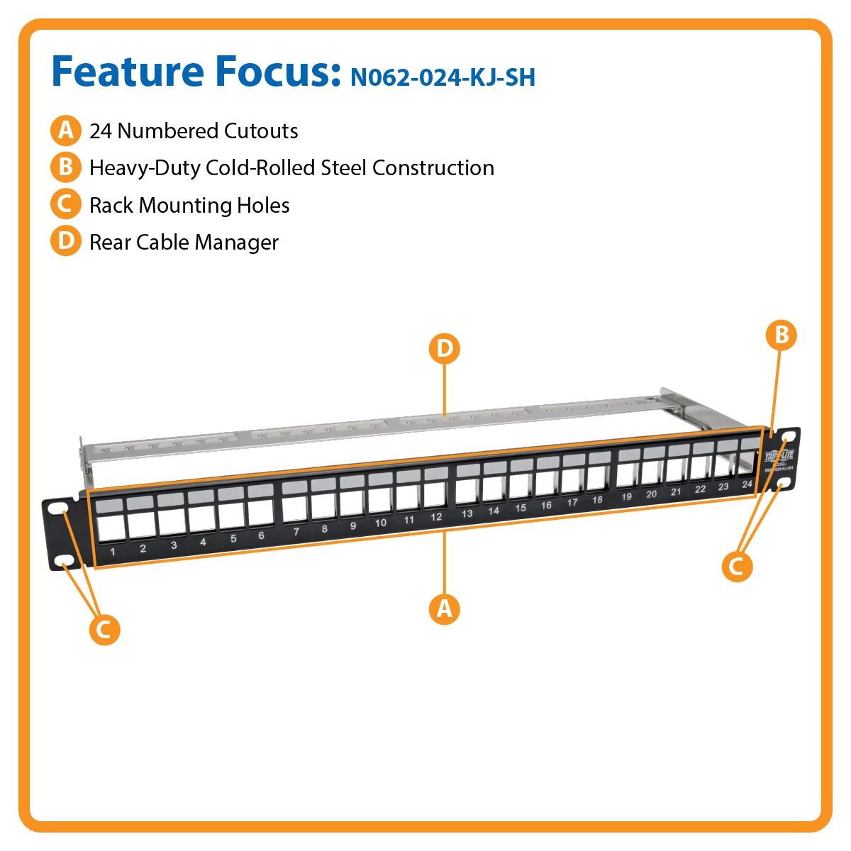 Tripp Lite 24 Port Shielded Blank Patch Panel Rj45 Usb Hdmi Cat5e Wiring Diagram On Cat 5e Ether Cable Manages And Organizes Up To Network Connections