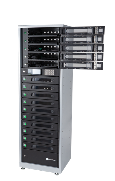 Intelligent Asset Management System™ that charges, stores, secures and manages assets for most mobile devices in 5 or 15 individually lockable compartments.