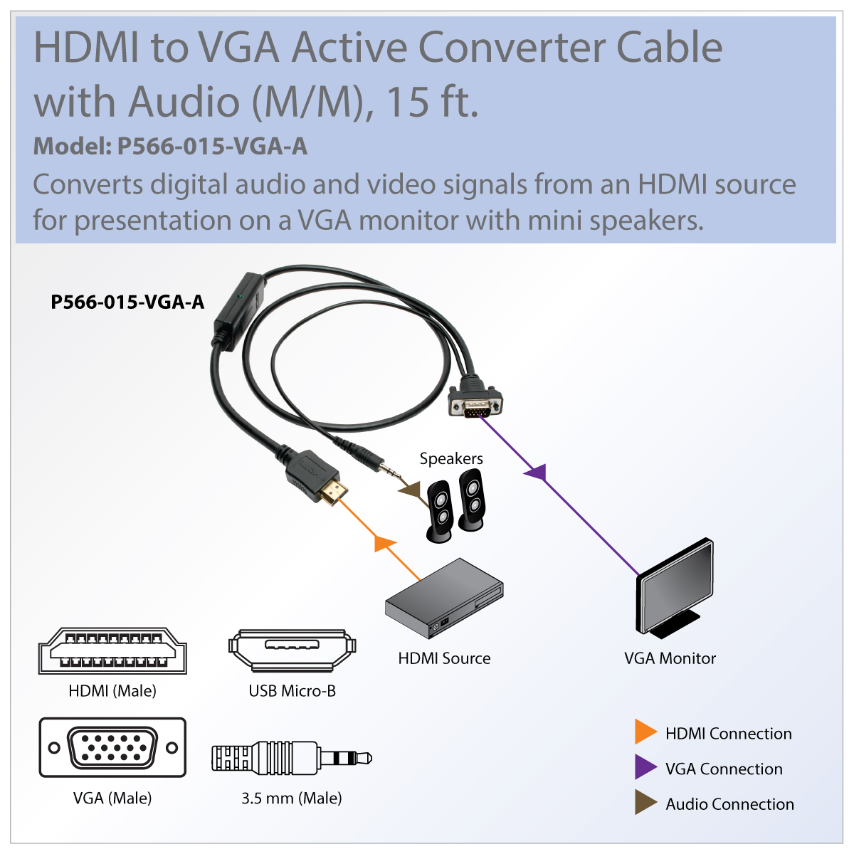 Tripp Lite Hdmi To Vga Adapter Converter Cable Active 35mm M Micro Audio Conversion Present And Video Content On Your Existing Display With Speakers
